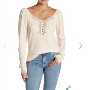 Free People NWT Snow Flower Ribbed Lace Top Pink